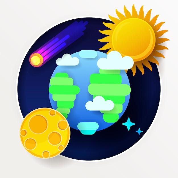 Globe moon sun and stars Premium Vector
