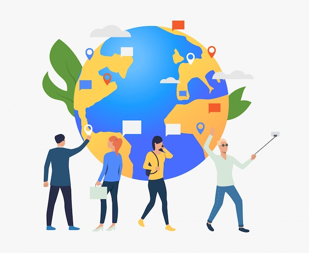 Globe and people using gadgets illustration Free Vector