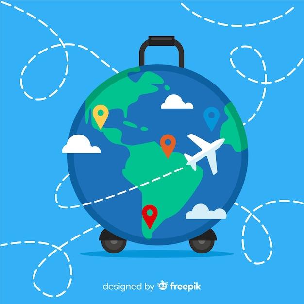 Globe suitcase background Free Vector