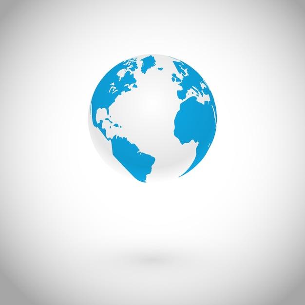 白い概念上の地球のシンボルベクトルアイコン 無料ベクター