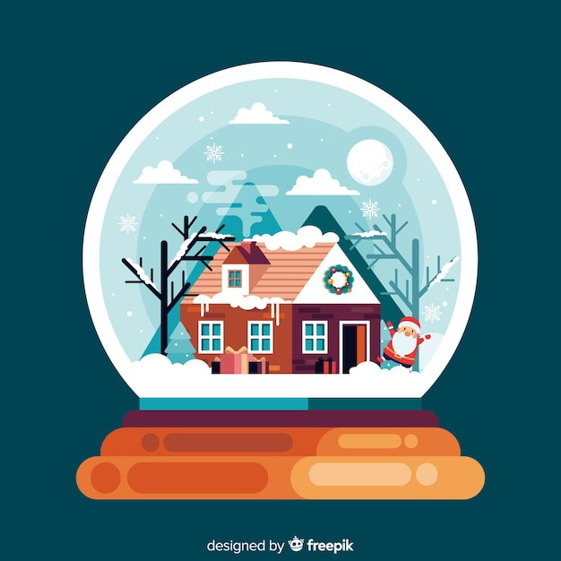 Globe with a house flat christmas background Free Vector
