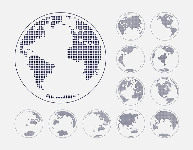 Globes showing earth with all continents vector Premium Vector