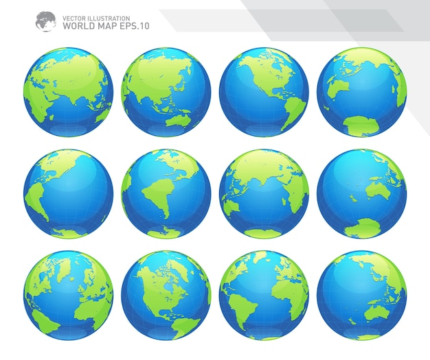 Globes showing earth with all continents Premium Vector