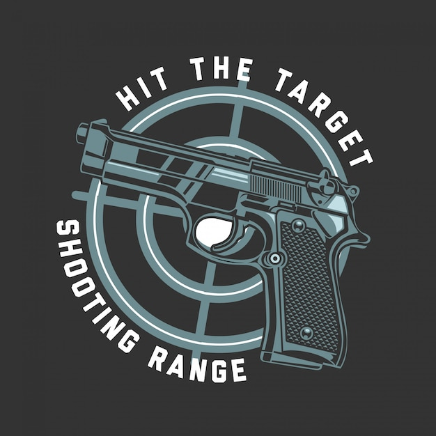 Glock gun hit the target Premium Vector