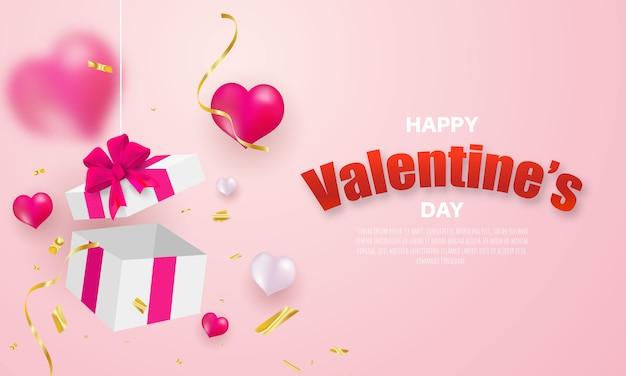 バレンタインの日、バナーテンプレート。 glodリボンとハートバルーンのサプライズギフトボックス、 Premiumベクター