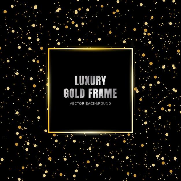 Glold glowing magic square frame effect black background Premium Vector