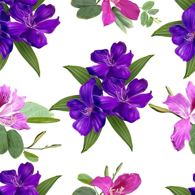 Glory bush and bauhinia  flowers seamless pattern Premium Vector