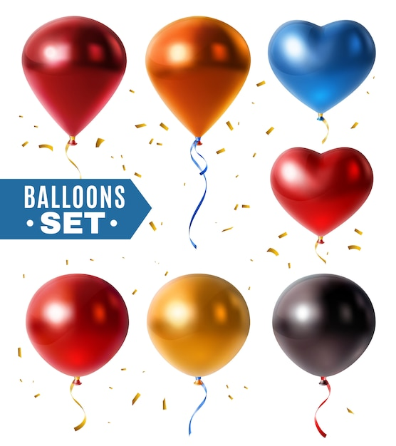 Glossy balloons and golden confetti set Free Vector