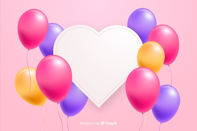 Glossy balloons with blank banner in 3d effect Free Vector