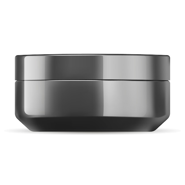 Glossy black cosmetic cream jar mockup template. Premium Vector