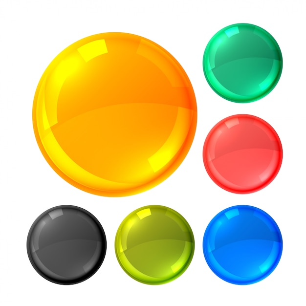Glossy bright circles buttons set Free Vector