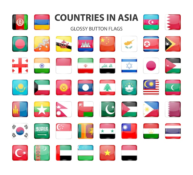 Glossy button flags  asia. original colors. Premium Vector