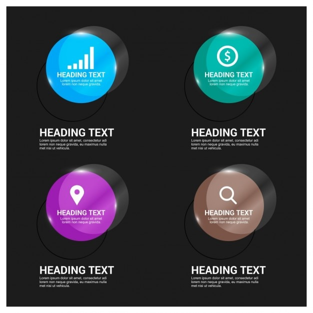 Glossy buttons for mobile app Free Vector