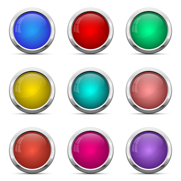 光沢のあるボタンは、白い背景の上の図を設定 Premiumベクター