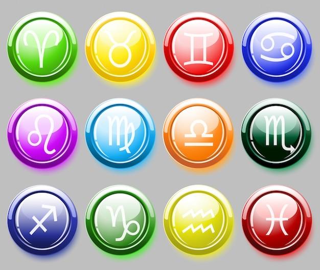 Глянцевые кнопки цвета с зодиакальными знаками для веб Premium векторы