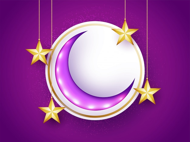 Glossy crescent moon with hanging golden stars for muslim community festivals celebration, can be used as sticker, tag or label design Free Vector