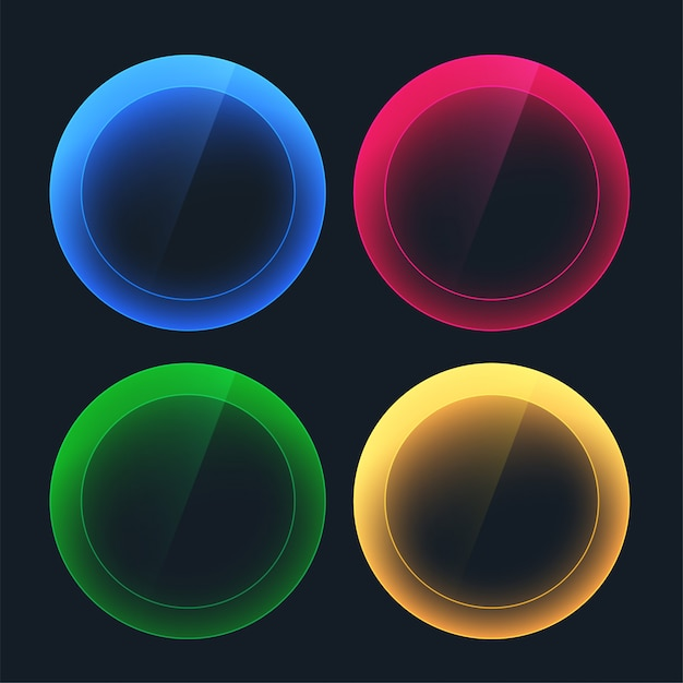 Glossy dark buttons in circular shapes Free Vector