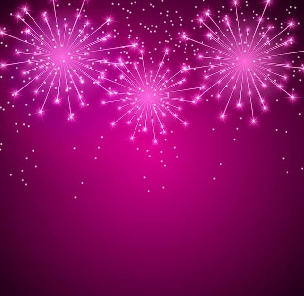 Glossy fireworks background Premium Vector