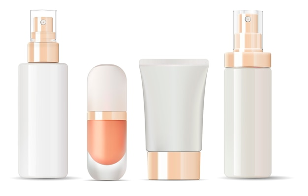 Glossy glass bottles with gold lids mockup set. Premium Vector