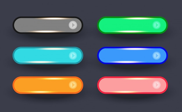 セットの光沢のあるゴールデン丸みを帯びたwebワイドボタン Premiumベクター
