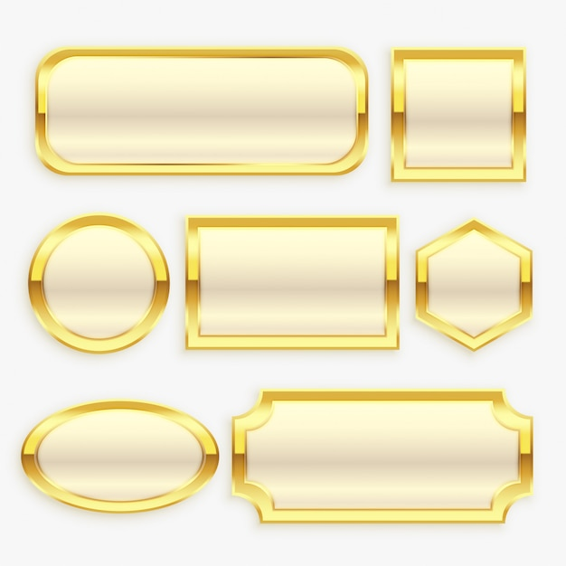 Glossy golden vintage frame or labels collection Free Vector