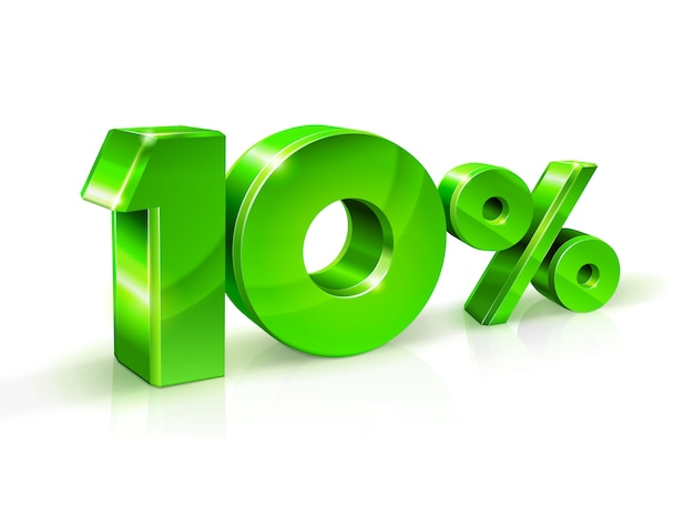 Glossy green 10 ten percent off, sale. isolated on white background, 3d object. Premium Vector
