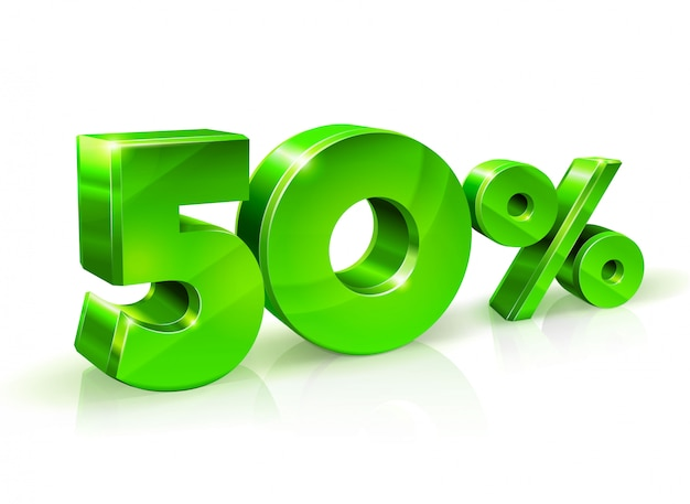 Glossy green 50 fifty percent off Premium Vector