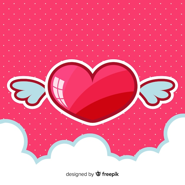 Glossy heart background Free Vector