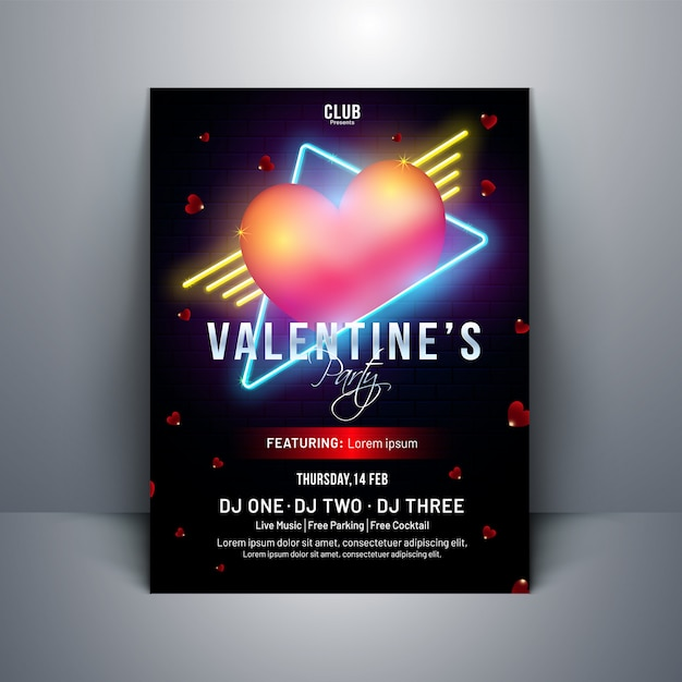 Glossy heart shape on black background for valentine's day templ Premium Vector