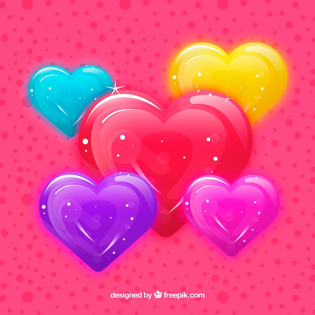 Glossy hearts collection Free Vector