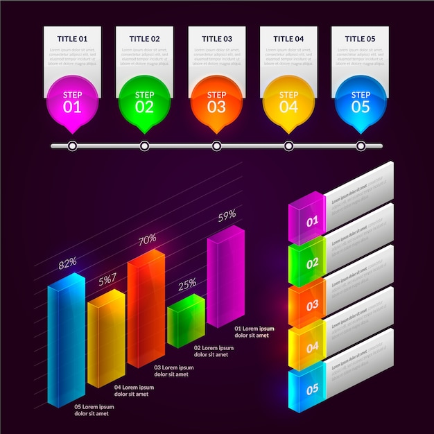Glossy infographic element collection Free Vector