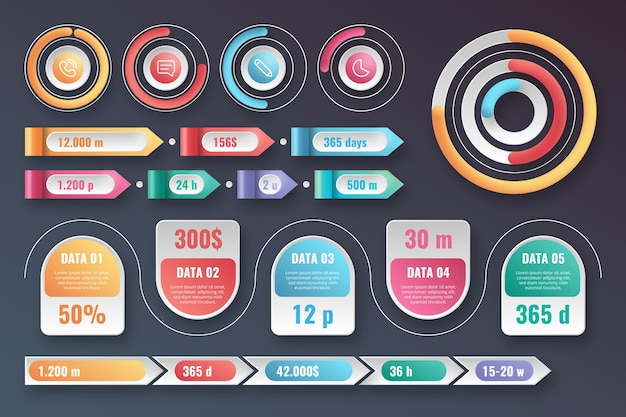 Glossy infographic element pack Free Vector