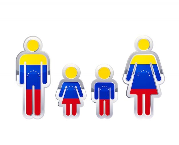 Глянцевая металлическая значок в мужском, женском и детском фигур с флагом венесуэлы, инфографики элемент на белом Premium векторы