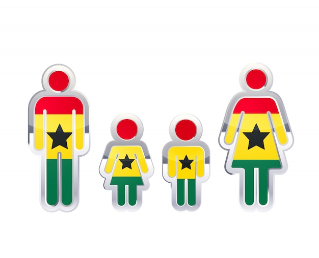 Glossy metal badge icon in man, woman and childrens shapes with ghana flag, infographic element isolated on white Premium Vector