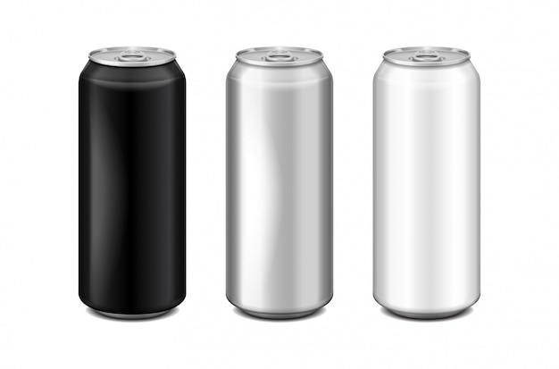 光沢のあるメタルシルバー、ホワイト、ブラックのアルミニウムビール缶。アルコール、エネルギードリンク、ソフトドリンク、ソーダ、ファジーポップ、レモネード、コーラに使用できます。現実的なテンプレートセット Premiumベクター