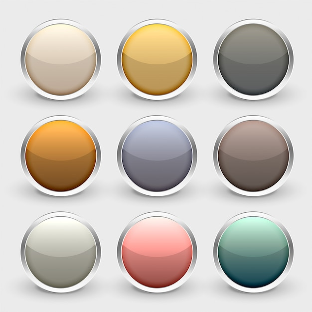 Glossy metallic shiny buttons set Free Vector
