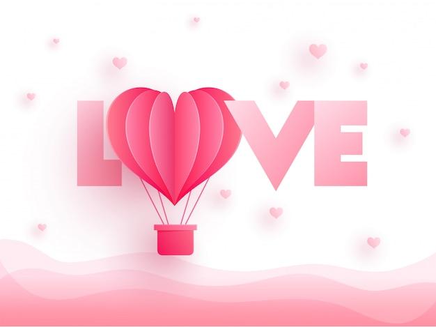 Глянцевый розовый текст love with paper cut воздушный шар Premium векторы