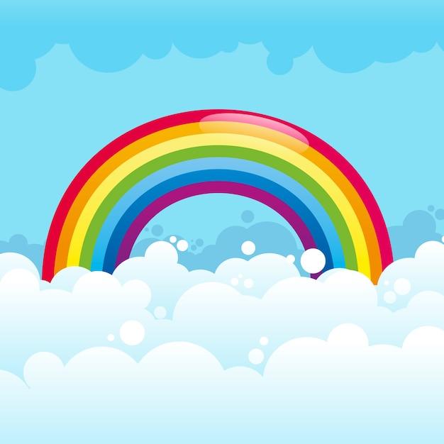 Глянцевая радуга в облаках Бесплатные векторы