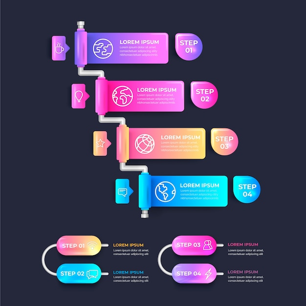 Glossy realistic infographic steps Free Vector