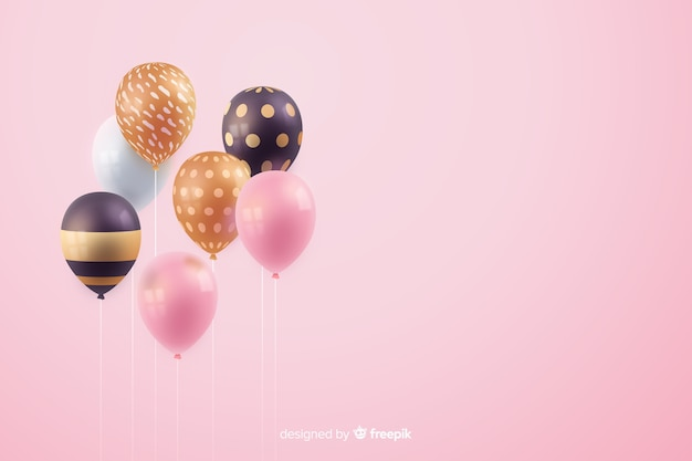 Glossy realistic tridimensional balloon background Free Vector