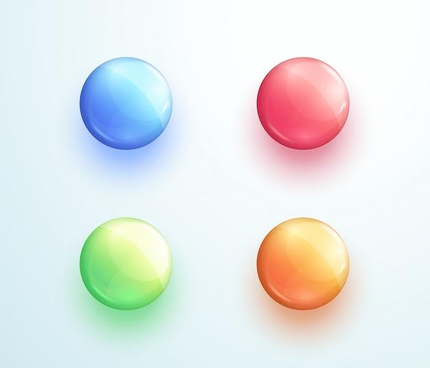 Glossy round button shape vector elements set Premium Vector