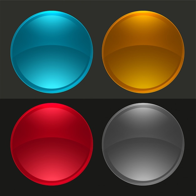 Glossy round buttons or glass balls set Free Vector