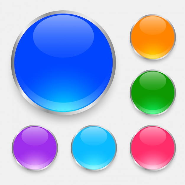 Glossy shiny buttons set in many colors Free Vector
