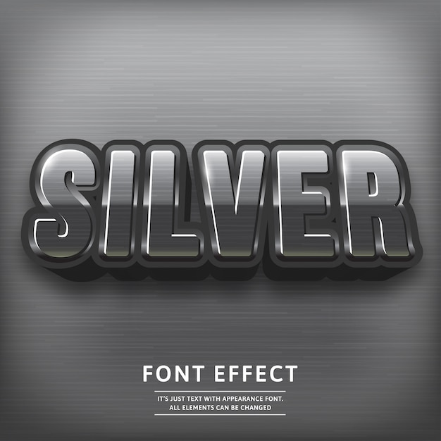 Glossy silver 3d title text effect. typography font. Premium Vector