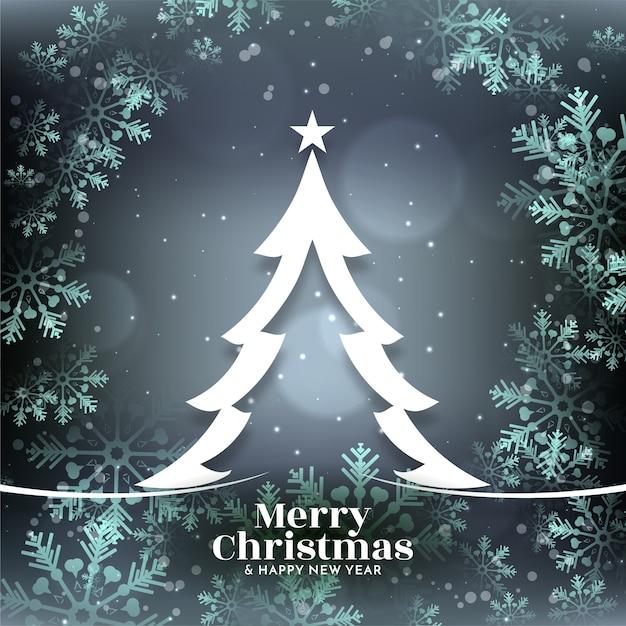 Глянцевые снежинки веселого рождества яркий фон с деревом Бесплатные векторы