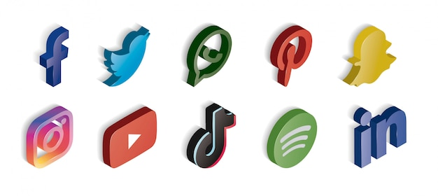 Glossy social media set of icons isometric Free Vector