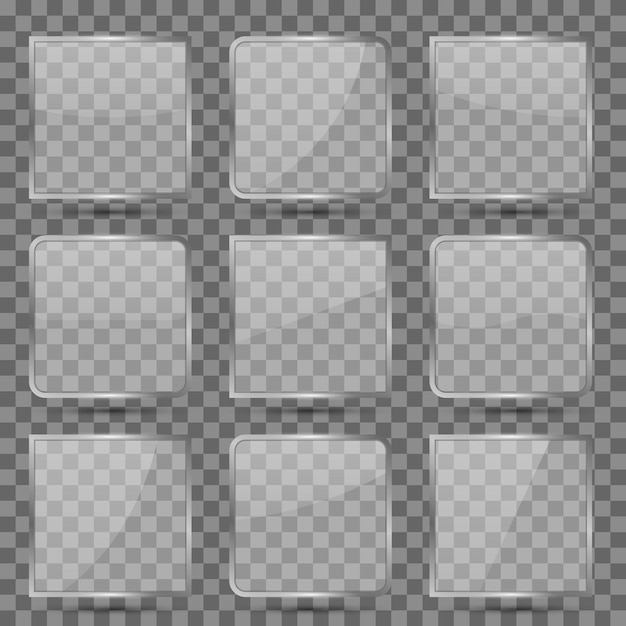 Glossy square glass set Free Vector