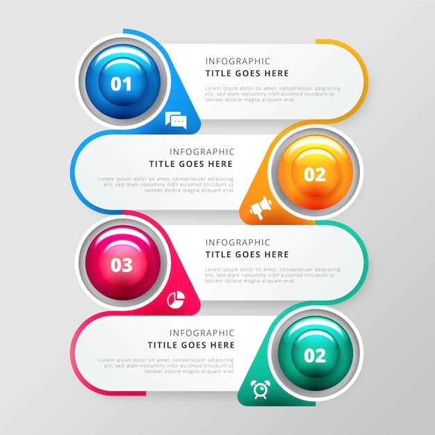 Glossy steps infographic template Free Vector