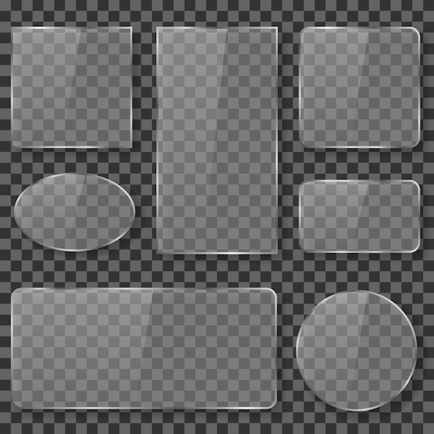 Glossy transparent glass set Free Vector