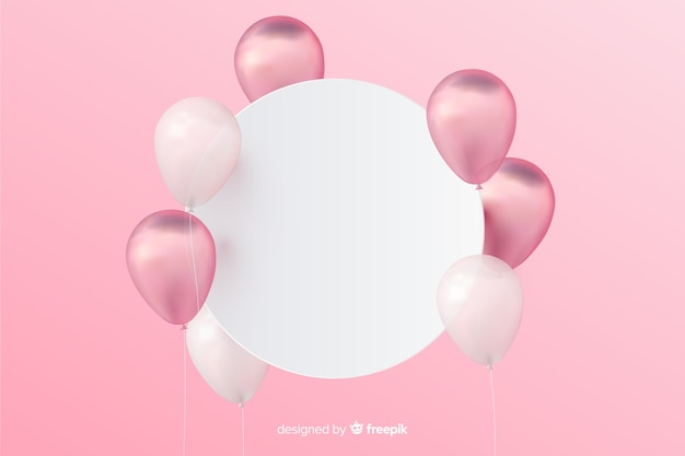 Glossy tridimensional balloon background with blank banner Free Vector